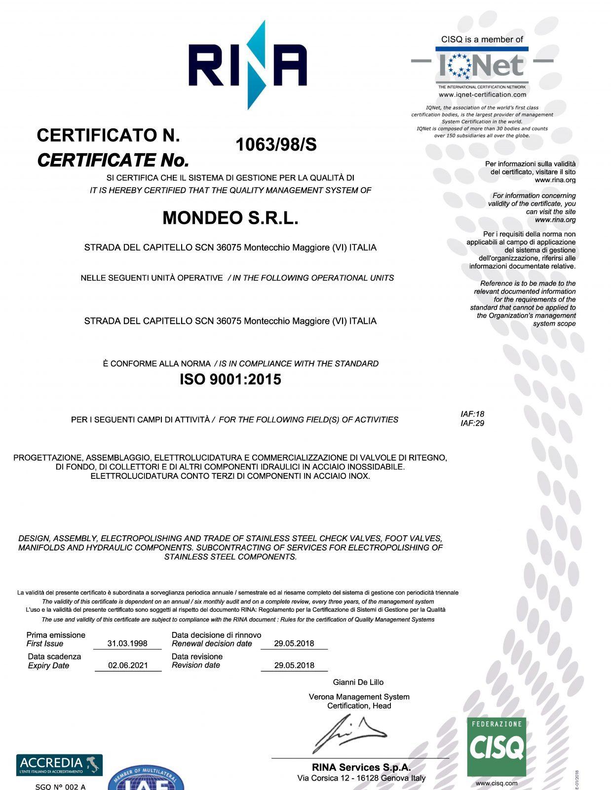 Certificato Mondeo ISO 2015 anno 2018